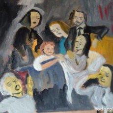 Arte: HA MUERTO LA MADRE,ÓLEO SOBRE MADERA, 40X50 CM. AUTOR CRESPO. Lote 105810563