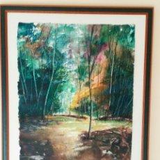 Arte - Paisaje Bosque de colores.Óleo sobre papel artesanal, enmarcado. - 105950223