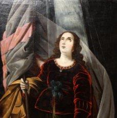 Arte: ESCUELA ESPAÑOLA DEL SIGLO XVIII. OLEO SOBRE TELA. RETRATO DE UNA SANTA ??. Lote 105972815