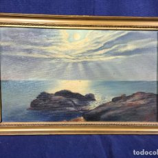 Arte: OLEO LIENZO MARCO MADERA DORADO PAISAJE MARITIMO COSTA MAR RAYOS SOL NUBES FIRMA J REY 37 X 24 CM. Lote 105978851