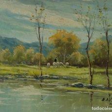 Arte: ENRIQUE BELTRAN MESSA (1940-2006) ÓLEO SOBRE LIENZO PAISAJE CON RÍO Y REBAÑO FIRMADO. Lote 105995207