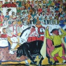 Arte: PICANDO AL TORO, ÓLEO SOBRE LIENZO EN BASTIDOR, 40X50 CM.CRESPO. Lote 106040635