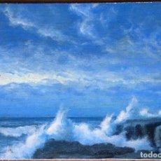 Arte: ANDREA FIGARI (1858-1945) PINTOR ITALIANO - ÓLEO SOBRE TELA PEGADA A CARTÓN - COSTA ROCOSA. Lote 106096003
