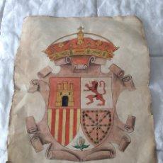 Arte: J. MARÍN-ESCUDO DE ESPAÑA-ACUARELA SOBRE CARTULINA.FIRMADO.. Lote 106638659