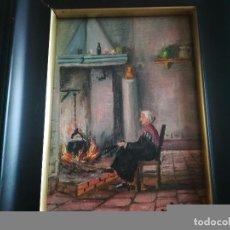 Arte: ANTIGUO Y PRECIOSO ÓLEO DE MUJER COCINANDO EN LA FIRMA PONE LÓPEZ REGALO MARCO MIREN FOTOS. Lote 106908951