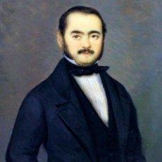 Arte: RETRATO DE CABALLERO. MINIATURA. PINTURA. ÓLEO SOBRE HUESO. ESPAÑA. CIRCA 1850. Lote 106920103