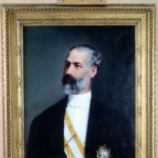 Arte: RETRATO CABALLERO ORDEN ISABEL LA CATÓLICA ÓLEO SOBRE LIENZO FECHADO EN 1913. Lote 107015895