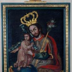 Arte: SAN JOSÉ CON EL NIÑO Y SÍMBOLOS DE LA PASIÓN ÓLEO SOBRE LIENZO ESCUELA CUZQUEÑA SIGLO XVIII. Lote 107016411