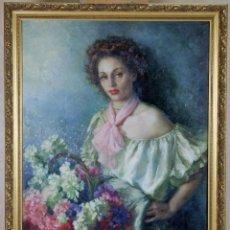 Arte: FLORISTA ÓLEO SOBRE LIENZO FRANCISCO RIBERA (1907-1996). Lote 107016715