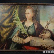 Arte: IMPORTANTE OLEO SOBRE TABLA RENACENTISTA SIGLO XVI. SANTA APOLONIA DE ALEJANDRIA BUEN TAMAÑO. Lote 107603315