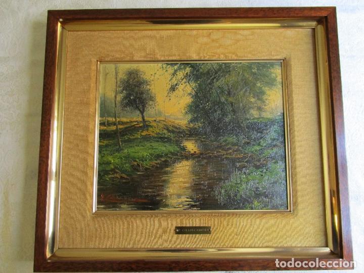 CUADRO OLEO PAISAJE DEL PINTOR PERE COLLDECARRERA (COMARCA D´OLOT 1978) (Arte - Pintura - Pintura al Óleo Antigua sin fecha definida)