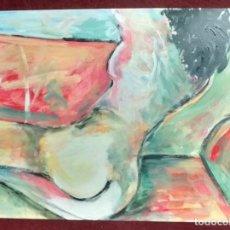 Arte: DESNUDO EN EL SOFÁ ACRÍLICO SOBRE CARTULINA 56 X 36. MANOLO IBÁÑEZ. Lote 107770391