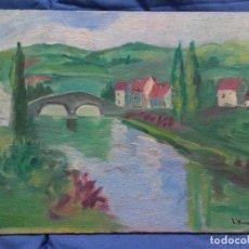 Arte: PAISAJE, OLEO SOBRE CARTON ENTELADO.. Lote 107798083