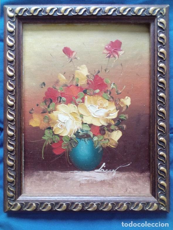 PEQUEÑO OLEO SOBRE TABLA ENTELADA, REPRODUCIENDO JARRON CON FLORES. (Arte - Pintura - Pintura al Óleo Moderna sin fecha definida)