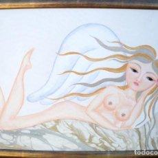 Arte: PINTURA DE NATHALIA SILVA, LLAMADA ANGEL DE PELO DORADO, VARIAS TÉCNICAS.. Lote 107826399
