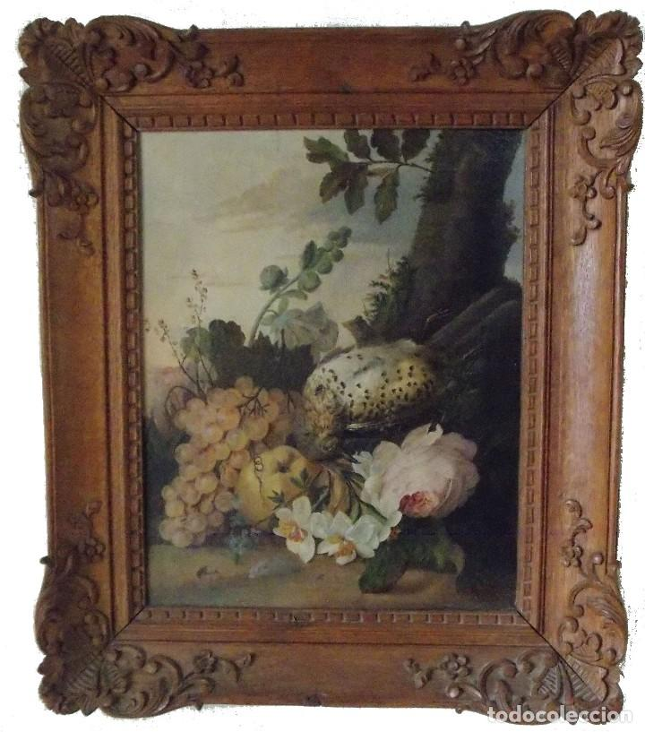 ANTIGUO OLEO SOBRE TAPIZ LIENZO BODEGÓN FRANCES // FRANCE OIL CANVAS (Arte - Pintura - Pintura al Óleo Antigua siglo XVIII)