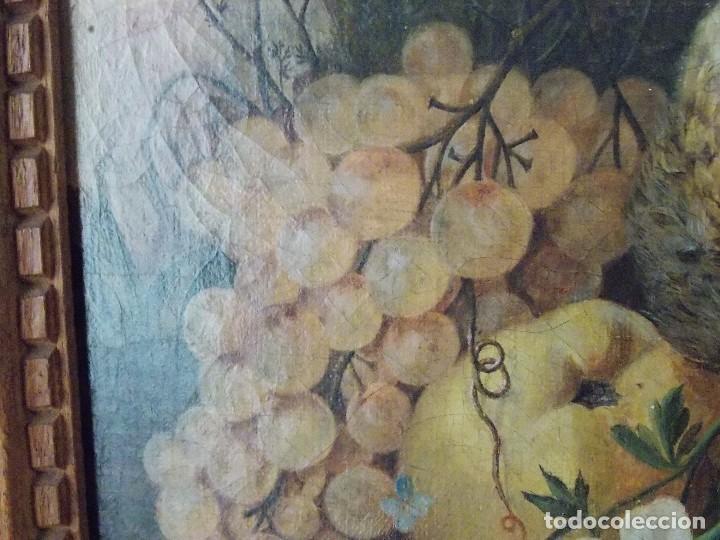 Arte: Antiguo oleo sobre tapiz lienzo bodegón Frances // France oil canvas - Foto 2 - 108028599