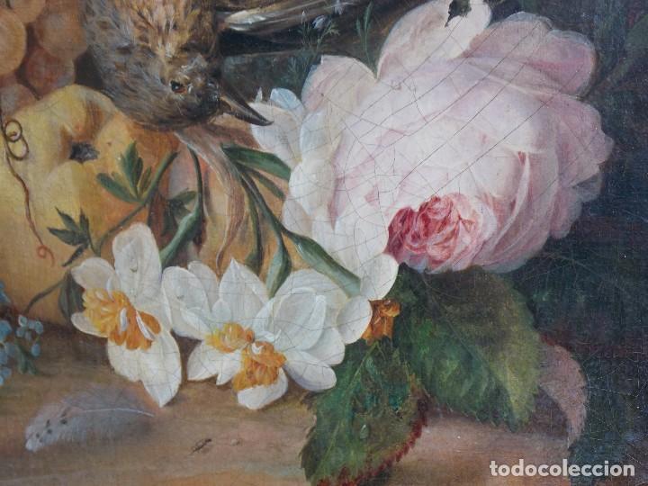 Arte: Antiguo oleo sobre tapiz lienzo bodegón Frances // France oil canvas - Foto 3 - 108028599