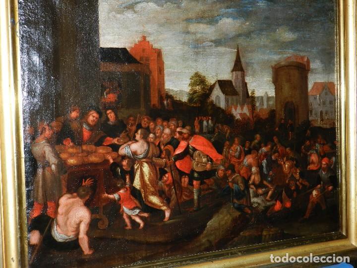 (M) PINTURA ANTIGUA AL OLEO DEL S.XVII POSIBLEMENTE FLAMENCA COSTUMBRISTA (ORIGINAL) VER FOTOGRAFIAS (Arte - Pintura - Pintura al Óleo Antigua siglo XVII)