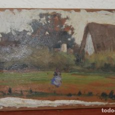 Arte: ÓLEO SOBRE TABLA - PAISAJE - ALBUFERA VALENCIANA - BARRACA - FIRMADO ROIG - 1918. Lote 108315815