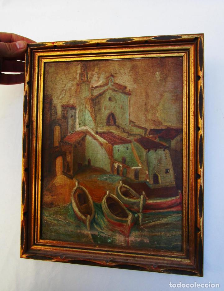CADAQUES PLAYA E IGLESIA SANTA MARIA TABLETA PINTURA ANTIGUA OLEO SOBRE TABLA AÑOS 30-40 (Arte - Pintura - Pintura al Óleo Contemporánea )
