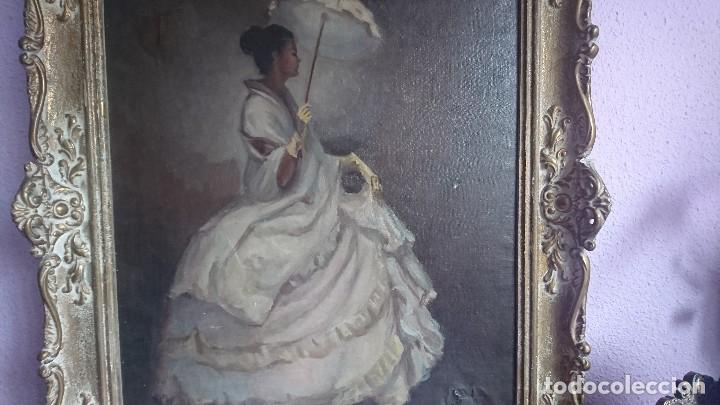 Arte: ÓLEO DAMA CON SOMBRILLA LLUIS MUNTANÉ MUNS - Foto 2 - 108390003