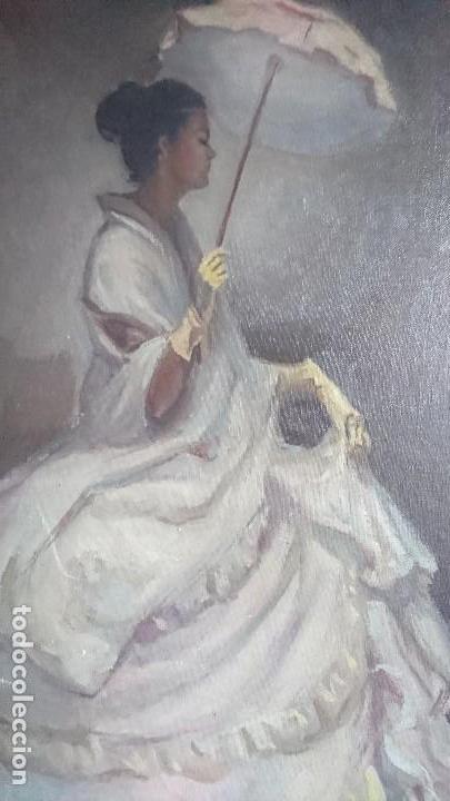 Arte: ÓLEO DAMA CON SOMBRILLA LLUIS MUNTANÉ MUNS - Foto 3 - 108390003