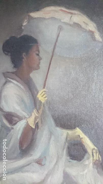 Arte: ÓLEO DAMA CON SOMBRILLA LLUIS MUNTANÉ MUNS - Foto 4 - 108390003