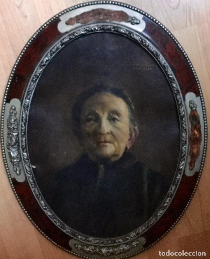 PINTURA FIGURATIVA CON RETRATO FEMENINO DE JOSEP MARÍA MARQUÉS PUIG (BARCELONA 1890-1950) (Arte - Pintura - Pintura al Óleo Moderna siglo XIX)