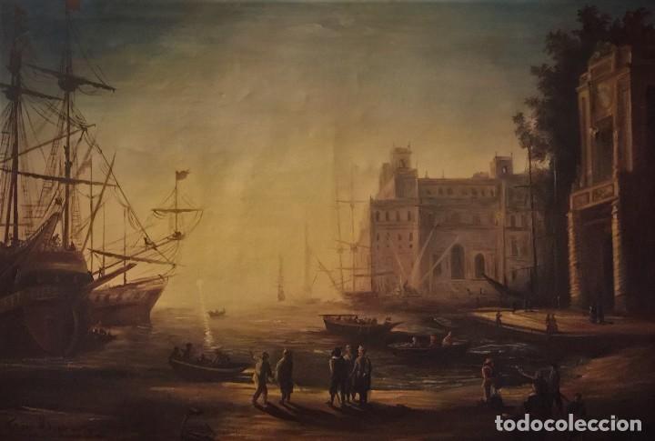VILLA MEDICI CON PUERTO, PAISAJE EN OLEO SOBRE LIENZO SEGUN CLAUDIO DE LORENA (Arte - Pintura - Pintura al Óleo Moderna siglo XIX)