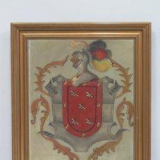 Arte: ANTIGUO ESCUDO HERALDICO. OLEO S/ LIENZO. FINALES SIGLO XIX - PPIOS. SIGLO XX. Lote 109005959