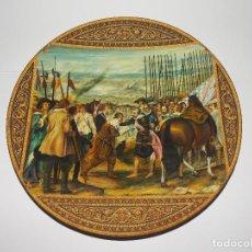 Arte: PLATO METAL DAMASQUINO TOLEDO PINTADO AL OLEO ROMAN PEREZAGUA LA RENDICION DE BREDA. Lote 109040859