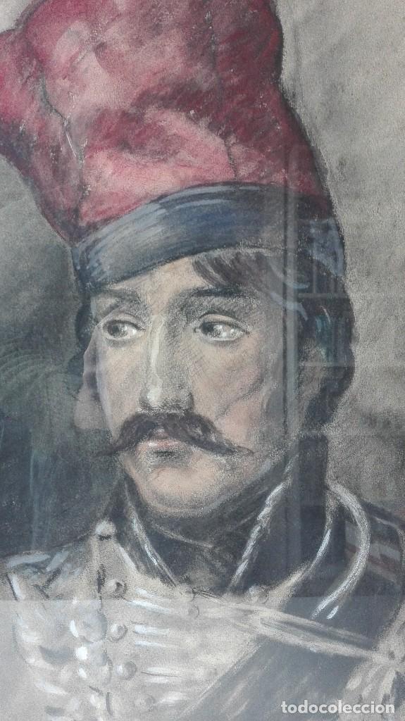 Arte: Antigua Pintura en Pastel representando un militar - Hussard del primer Imperio. Francia. Siglo XIX - Foto 2 - 109076555