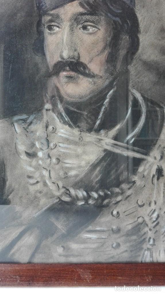 Arte: Antigua Pintura en Pastel representando un militar - Hussard del primer Imperio. Francia. Siglo XIX - Foto 4 - 109076555
