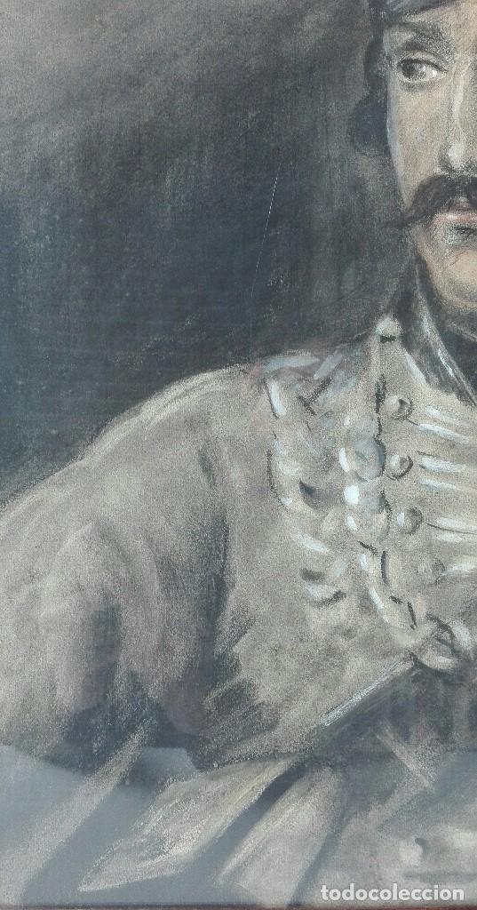 Arte: Antigua Pintura en Pastel representando un militar - Hussard del primer Imperio. Francia. Siglo XIX - Foto 5 - 109076555