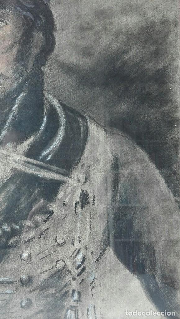 Arte: Antigua Pintura en Pastel representando un militar - Hussard del primer Imperio. Francia. Siglo XIX - Foto 6 - 109076555