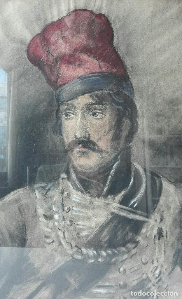 Arte: Antigua Pintura en Pastel representando un militar - Hussard del primer Imperio. Francia. Siglo XIX - Foto 7 - 109076555