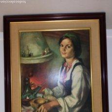 Arte: GITANA, FRANCISCO RIBERA OLEO ORIGINAL SOBRE TABLA. Lote 108718420