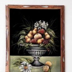 Arte: BODEGÓN PINTADO SOBRE TELA TIPO TERCIOPELO NEGRA, CON MARCO 100 X 69 CM.. Lote 109115219