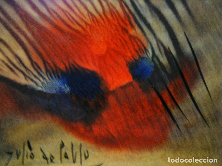 PEQUEÑA Y BELLA OBRA DE JULIO DE PABLO (1917- 2009) FELICITACIÓN A UN AMIGO,1976 TÉCNICA MIXTA (Arte - Pintura - Pintura al Óleo Contemporánea )