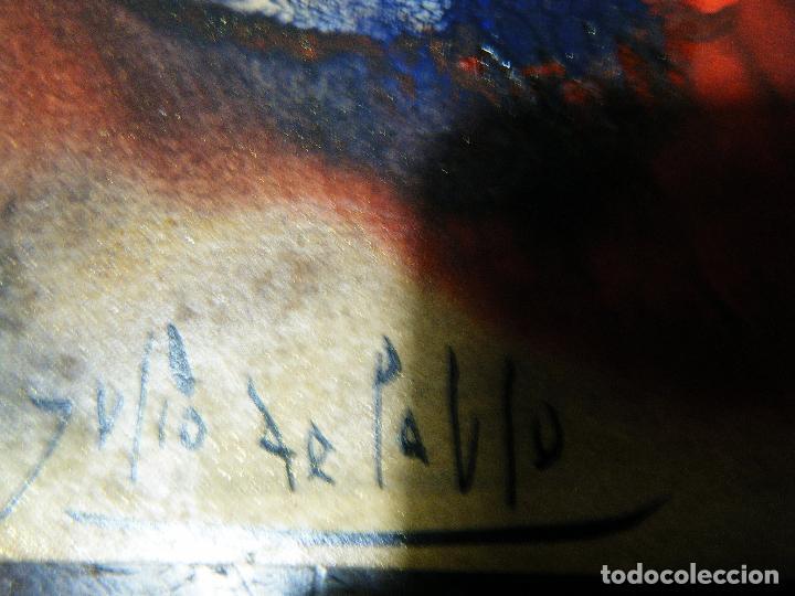 Arte: Pequeña y bella obra de Julio de Pablo (1917- 2009) Felicitación a un amigo,1976 Técnica mixta - Foto 2 - 109209695
