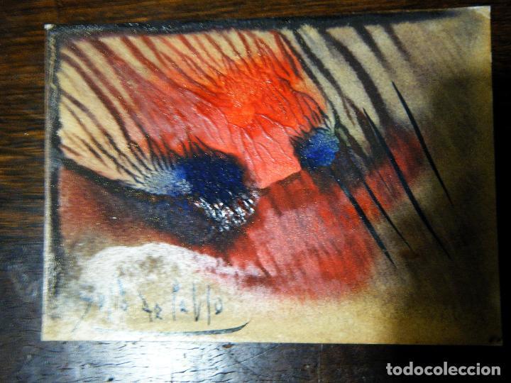 Arte: Pequeña y bella obra de Julio de Pablo (1917- 2009) Felicitación a un amigo,1976 Técnica mixta - Foto 4 - 109209695