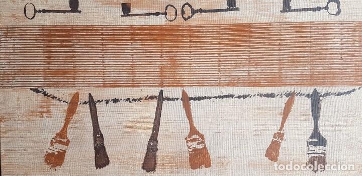 """JOSÉ LAPASIÓ EXCELENTE CUADRO ORIGINAL """"PINCELES Y LLAVES"""" 44.50X 87 CM. COA (Arte - Pintura Directa del Autor)"""