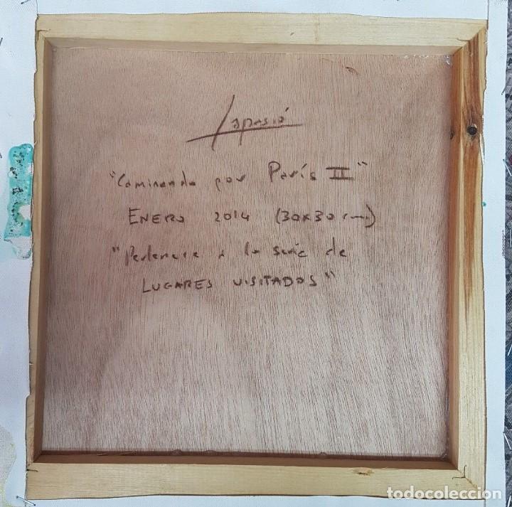"Arte: JOSÉ LAPASIÓ EXCELENTE CUADRO ORIGINAL - ""CAMINANDO POR PARIS II"" 30x30 cm. COA - Foto 2 - 109250823"