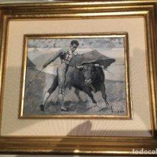 Arte: JOSE MARIA TÚSER VÁZQUEZ (1919-1986), PINTURA AL ÓLEO, PASE TAURINO, FIRMADO Y ENMARCADO. Lote 109298043