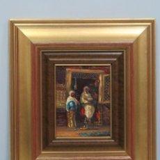 Arte: BONITO INTERIOR ORIENTALISTA. OLEO S/ COBRE. SEGUNDA MITAD SIGLO XX. FIRMADA. Lote 109308315