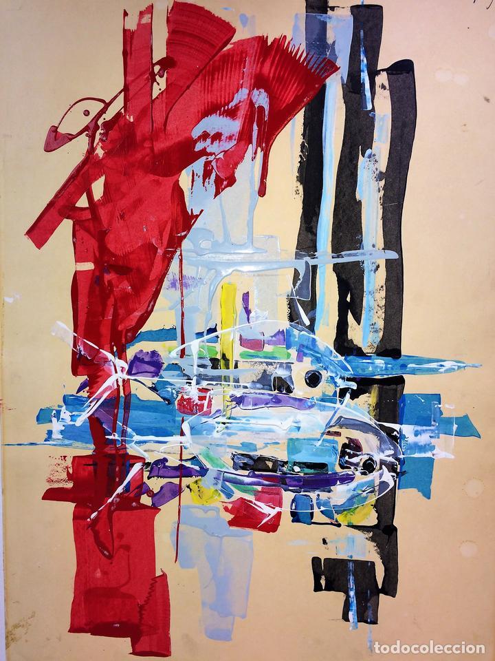 COMPOSICIÓN ABSTRACTA. ACRÍLICO-ÓLEO SOBRE PAPEL. FIRMADO. ESPAÑA. SIGLO XX (Arte - Pintura - Pintura al Óleo Contemporánea )
