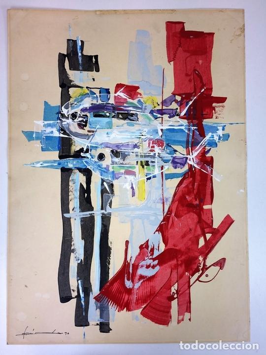 Arte: COMPOSICIÓN ABSTRACTA. ACRÍLICO-ÓLEO SOBRE PAPEL. FIRMADO. ESPAÑA. SIGLO XX - Foto 2 - 109367343