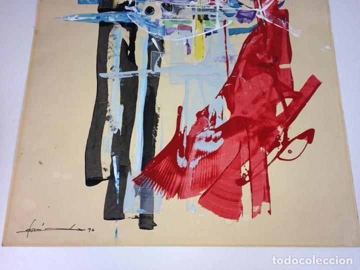 Arte: COMPOSICIÓN ABSTRACTA. ACRÍLICO-ÓLEO SOBRE PAPEL. FIRMADO. ESPAÑA. SIGLO XX - Foto 3 - 109367343