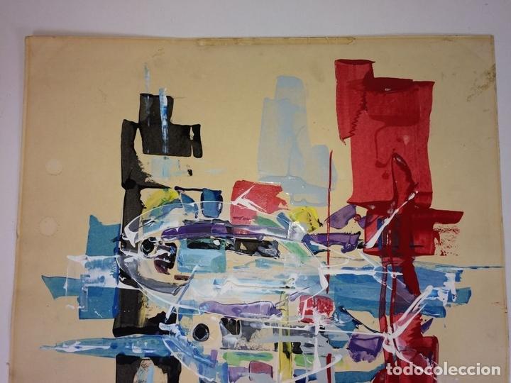 Arte: COMPOSICIÓN ABSTRACTA. ACRÍLICO-ÓLEO SOBRE PAPEL. FIRMADO. ESPAÑA. SIGLO XX - Foto 4 - 109367343